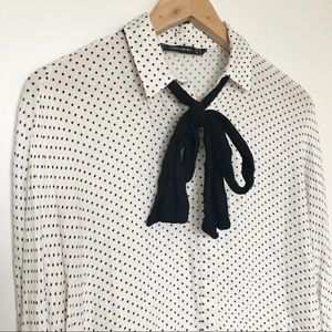 Zara Polka Dot Bow Tie Button Down Blouse Size M
